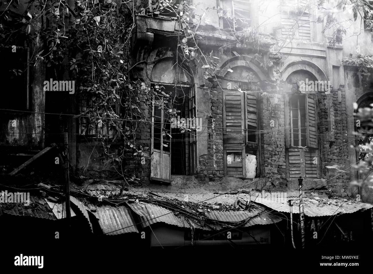 Kolkata rickshawala,taxi, indian street photography,el rickshaw,india,amor,triste,felicidad,contento,lucha,carretera,desamparados,solitaria,soledad,ciudad,antigua casa,la niebla Imagen De Stock