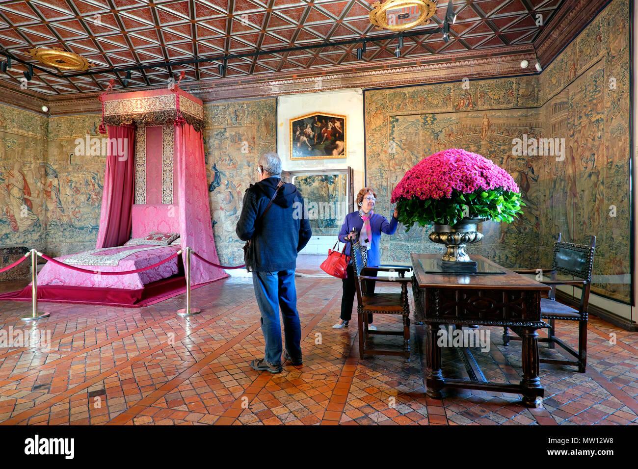 Los Cinco Queen's dormitorio / Chambre des Cinq reines, Château de Chenonceau, Chenonceaux, Valle del Loira, Center-Val de Loire, Francia Imagen De Stock