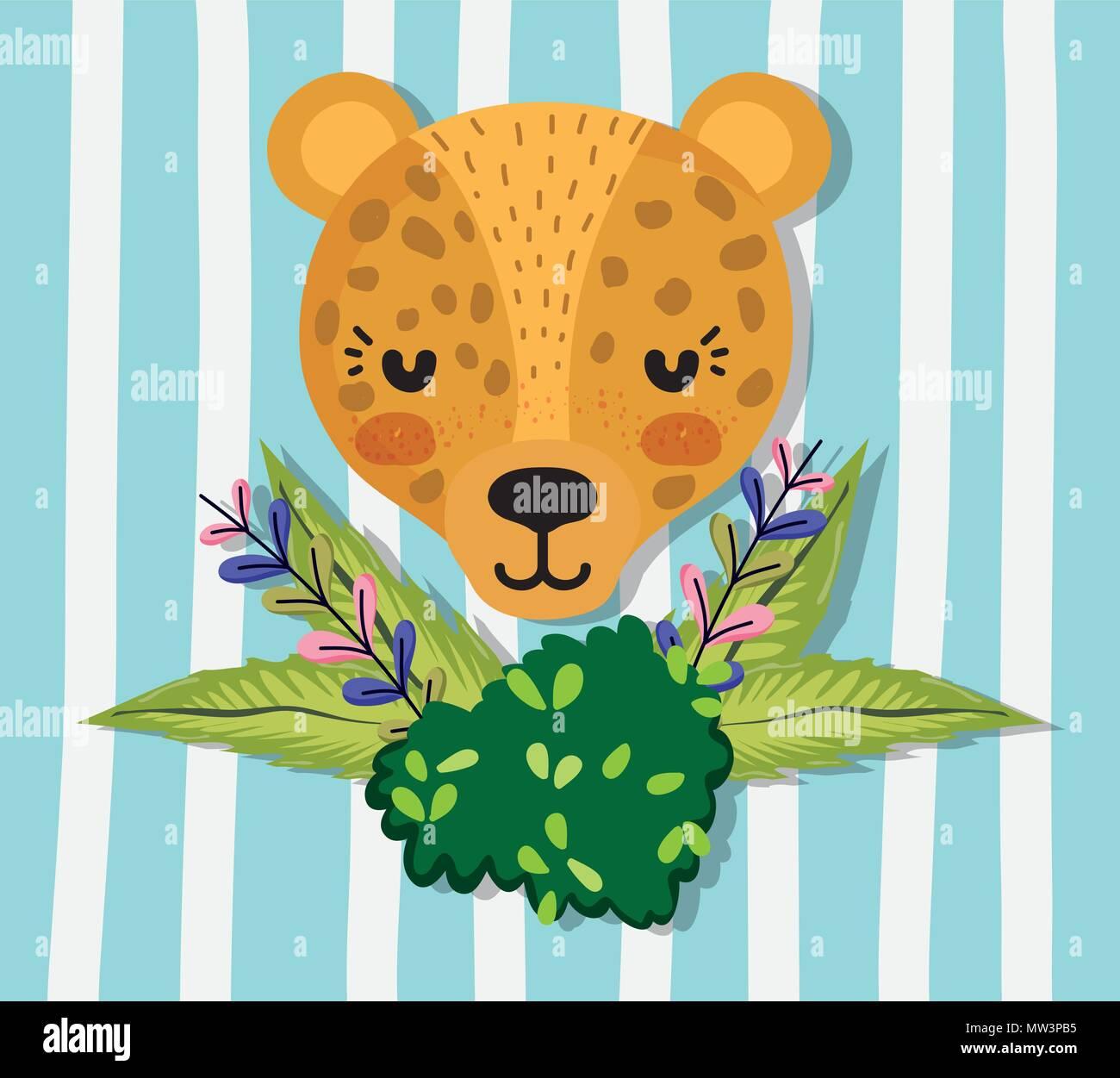 Cute dibujos animados animales silvestres jaguar Ilustración del ...