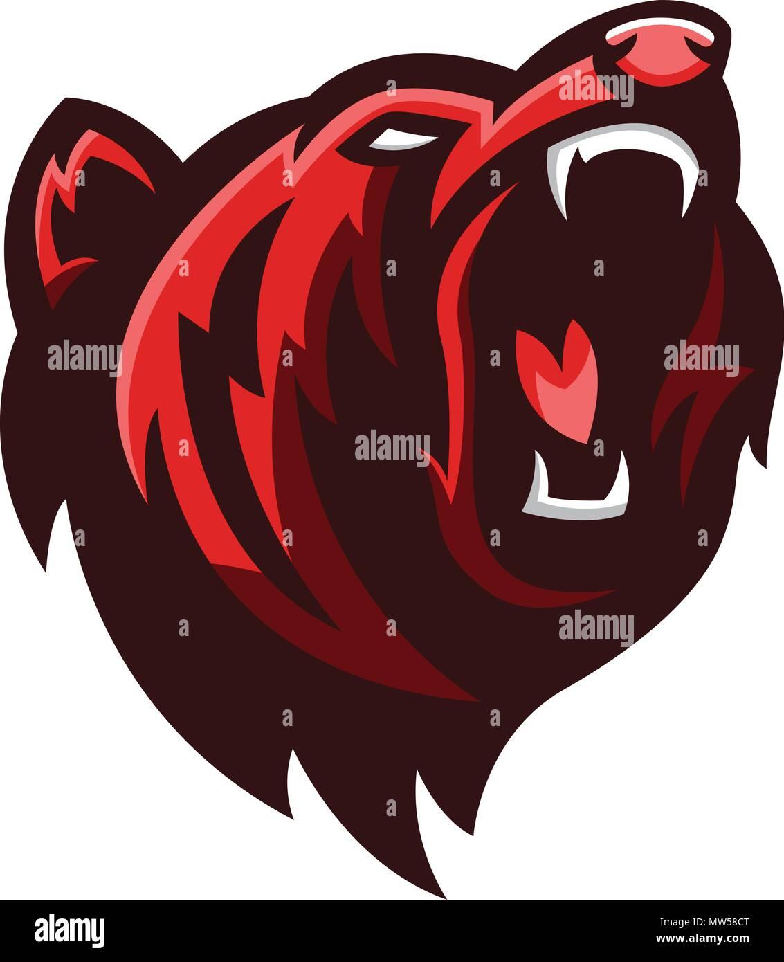 Ilustración de vector animal enojado un oso grizzly la fauna del depredador
