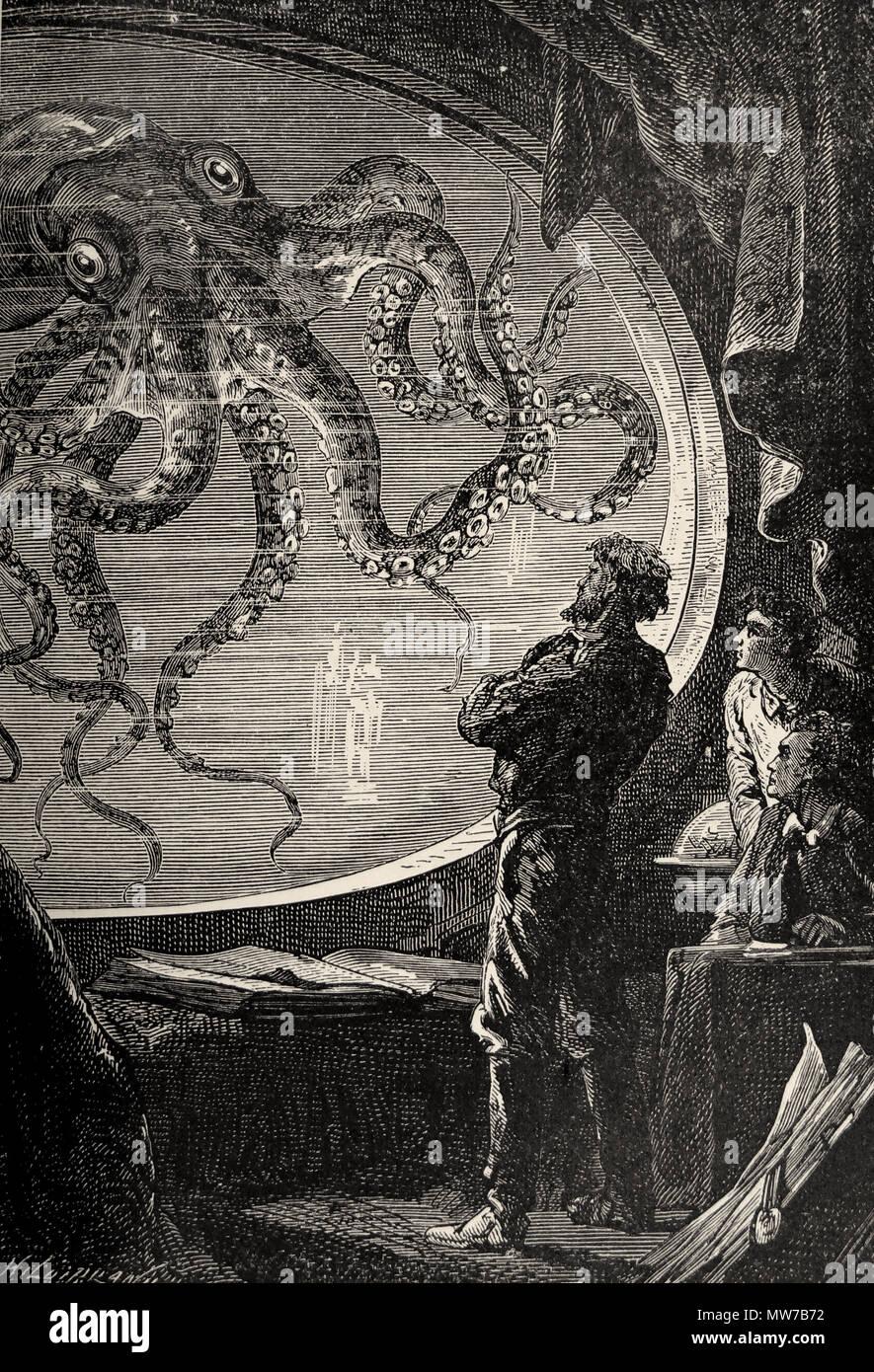 """Ante mis ojos es un horrible monstruo. """"Veinte mil leguas bajo el mar"""" de Julio Verne (1873, 2ª ed.) Nosotros Foto de stock"""