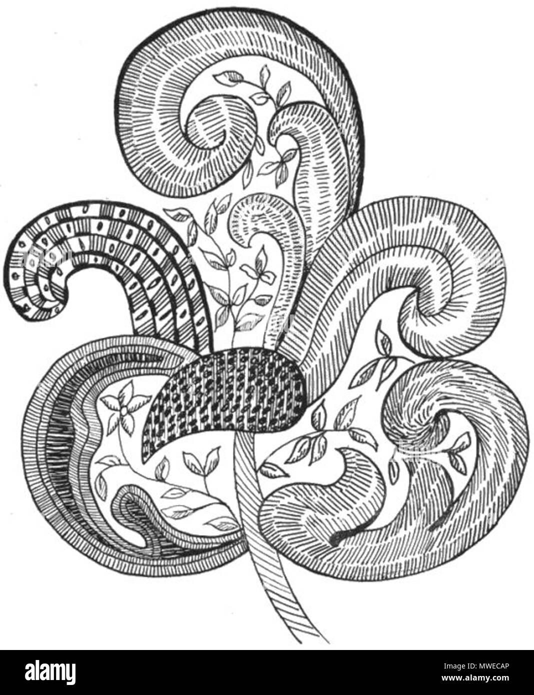 Patrón de hojas bordados jacobea: \