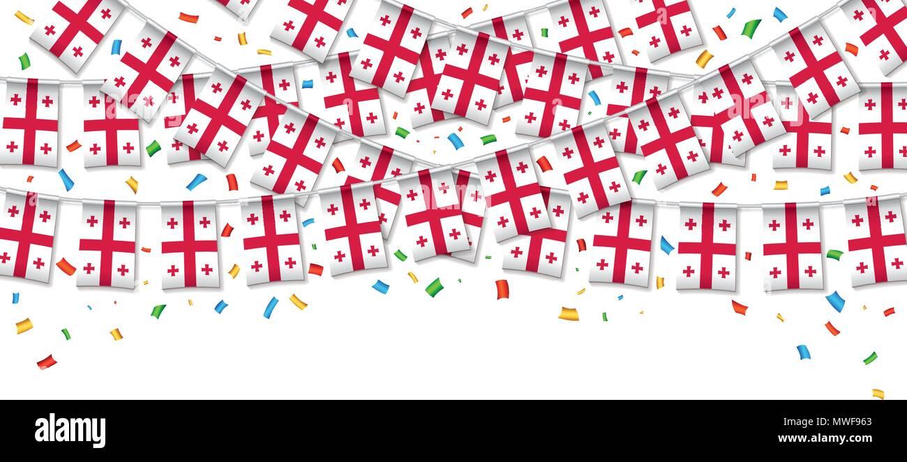 Banderas Georgia garland fondo blanco con confeti, colgando bunting ...