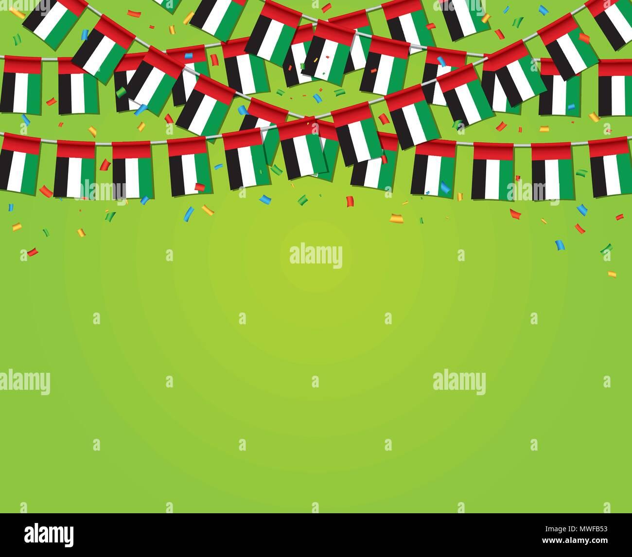 Garland EAU banderas con fondo verde Plantilla Banner, colgando ...