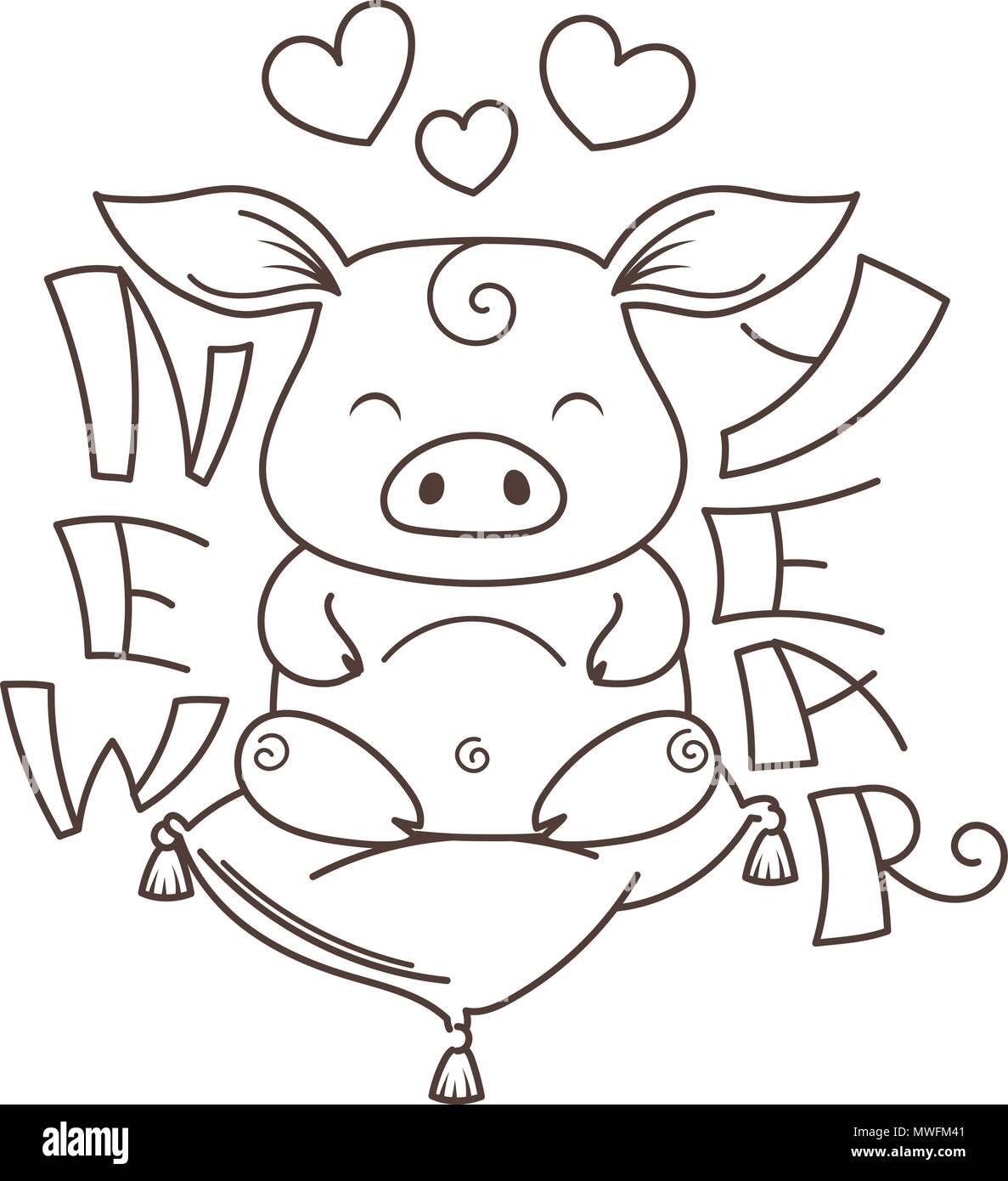 Cute Dibujos Animados De Cerdo En El Amor Símbolo Del Nuevo