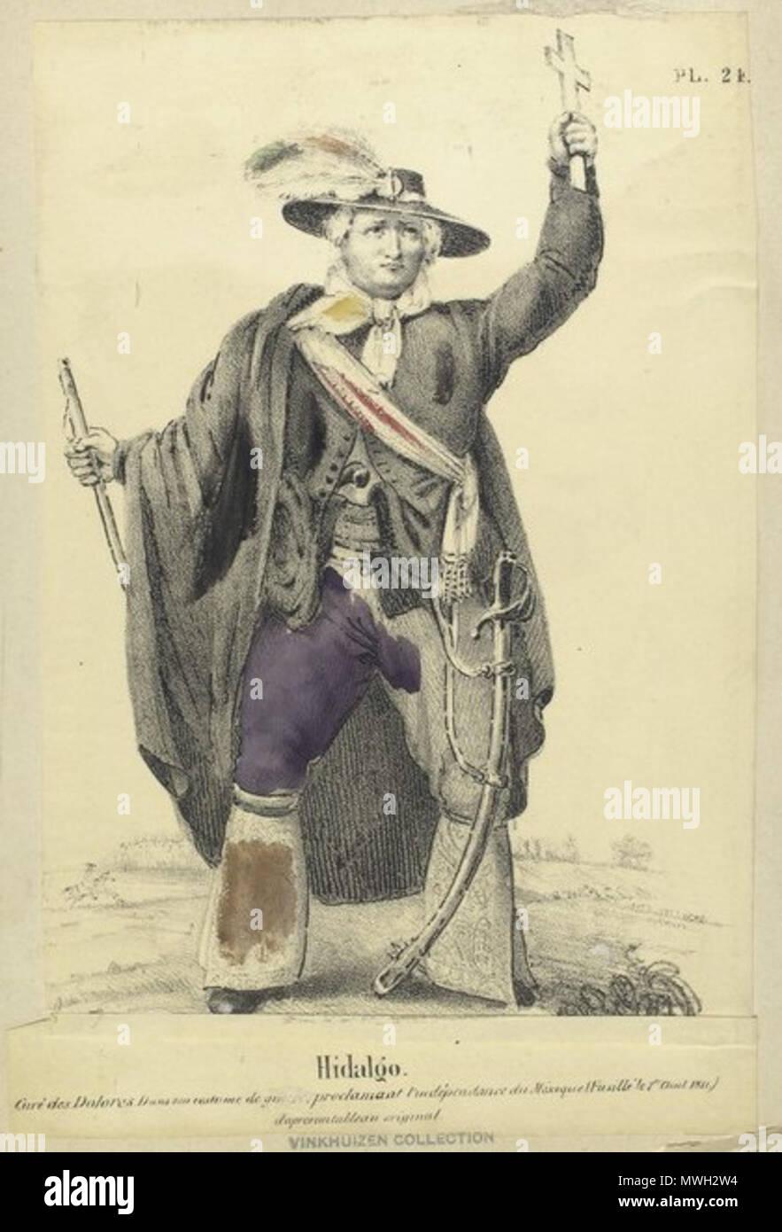 Inglés Miguel Hidalgo En Su Uniforme Militar Litografía