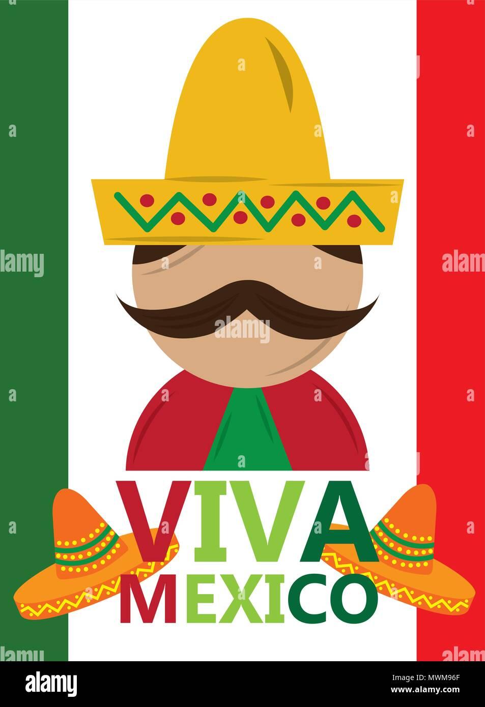 2b7288daf270a Hombre bigote mexicano con sombrero tradicional VIVA MÉXICO ilustración  vectorial