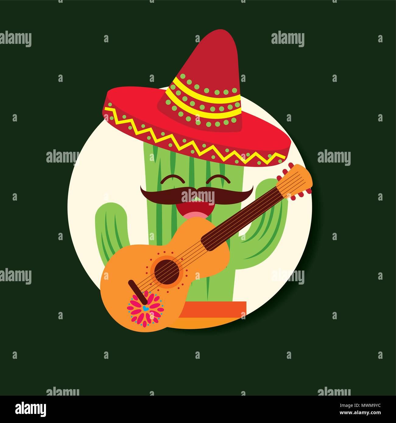 dc78177d3ab66 Feliz caricatura cactus con sombrero y guitarra VIVA MÉXICO ilustración  vectorial