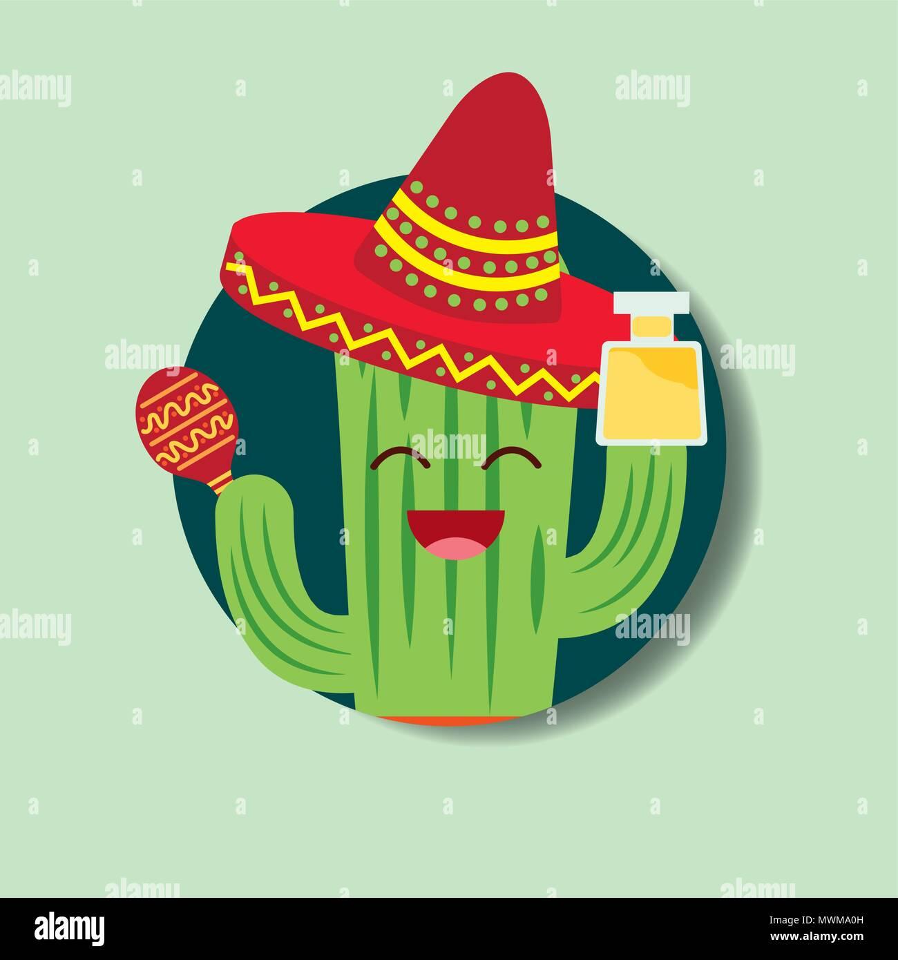 46cacffde92ca Cartoon cactus con sombrero y beber tequila VIVA MÉXICO ilustración  vectorial