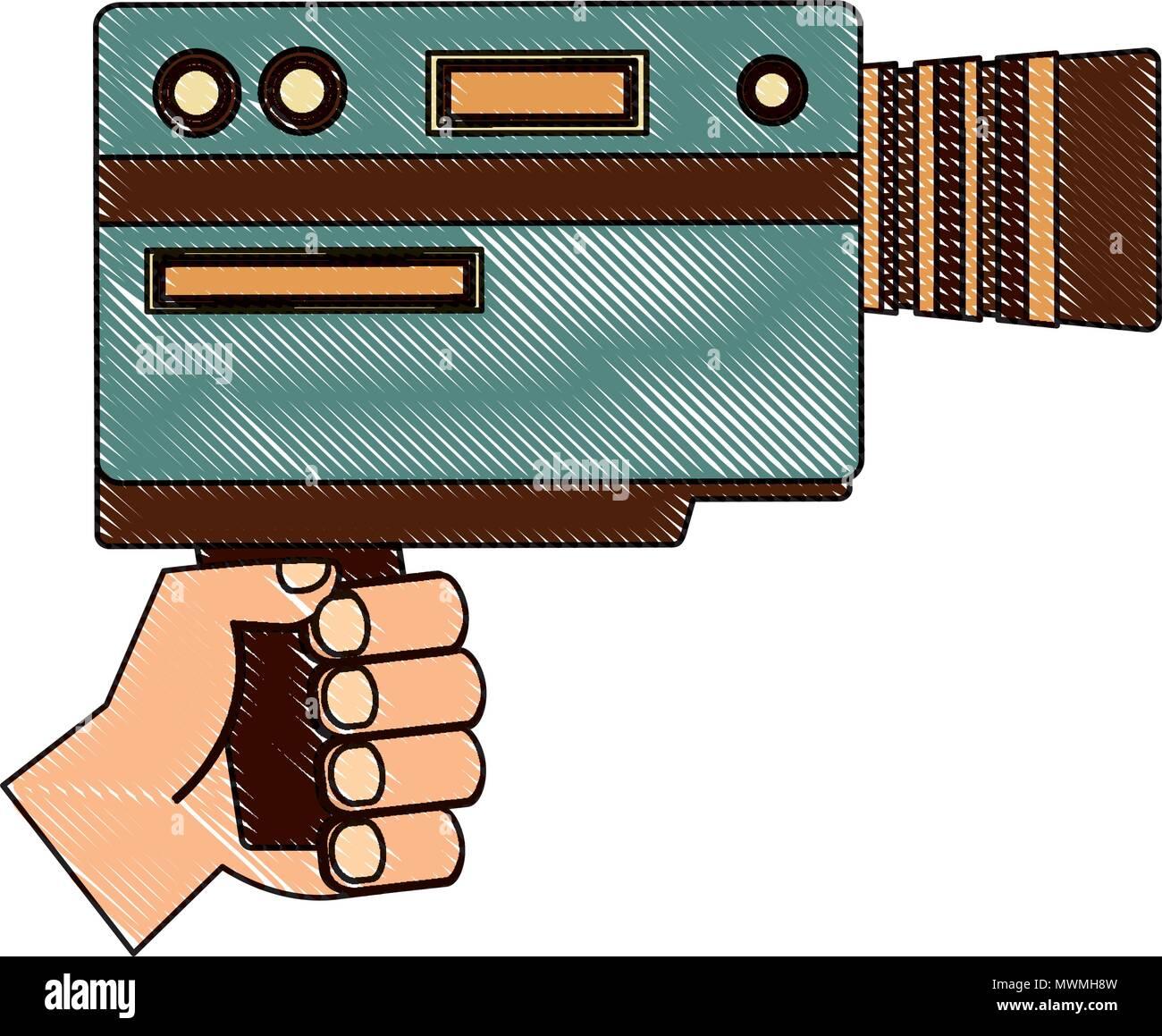 Dispositivo De Cámara De Vídeo De Mano Sujetando Vintage
