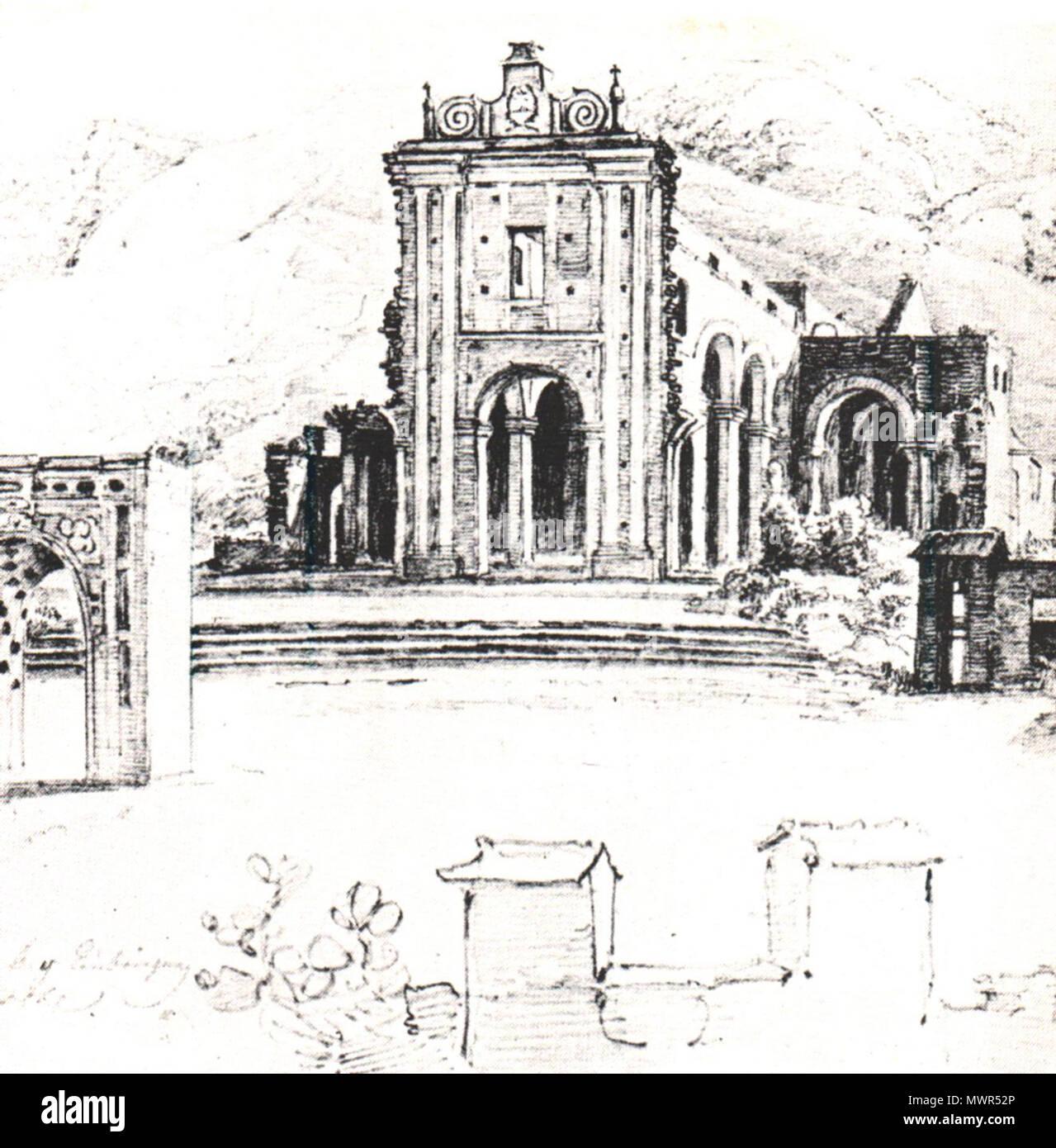 532 Ruinas de la iglesia de la Santísima Trinidad en Caracas - Ferdinand Bellermann Foto de stock