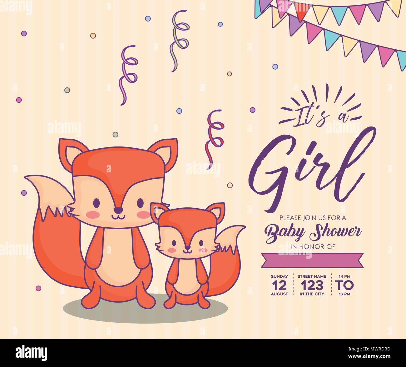 8111e3148 Invitación de baby shower con su concepto de una niña con bonitos zorros  sobre fondo naranja