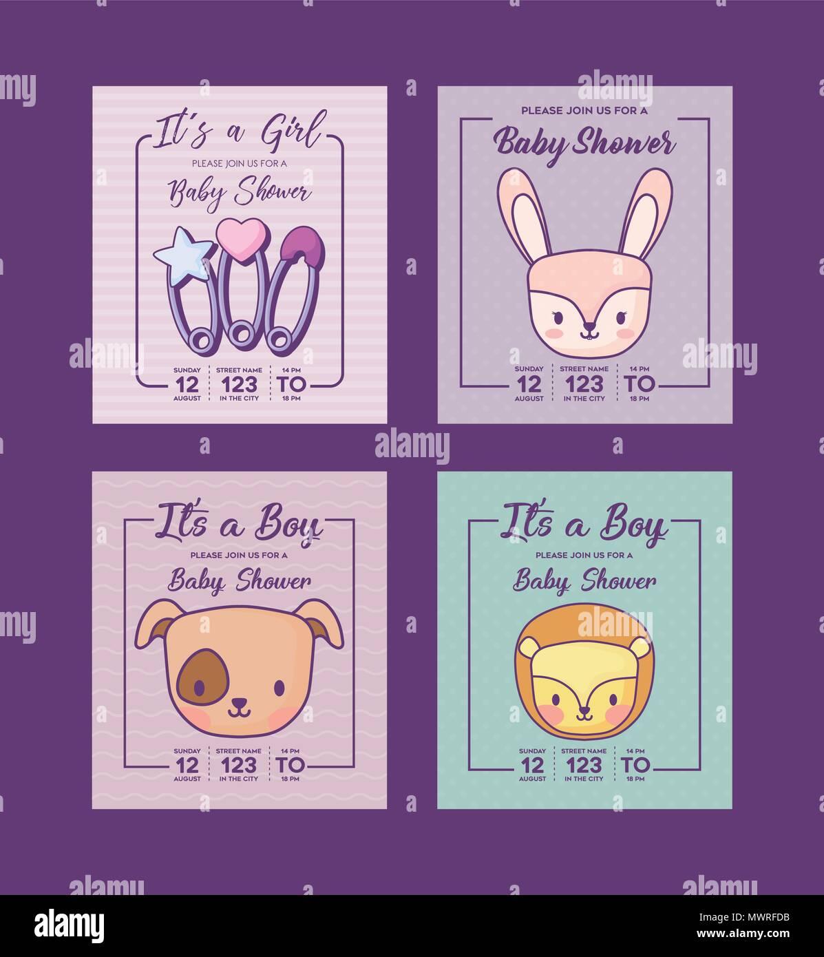 Conjunto De Iconos De Invitaciones Para Baby Shower Con Animalitos