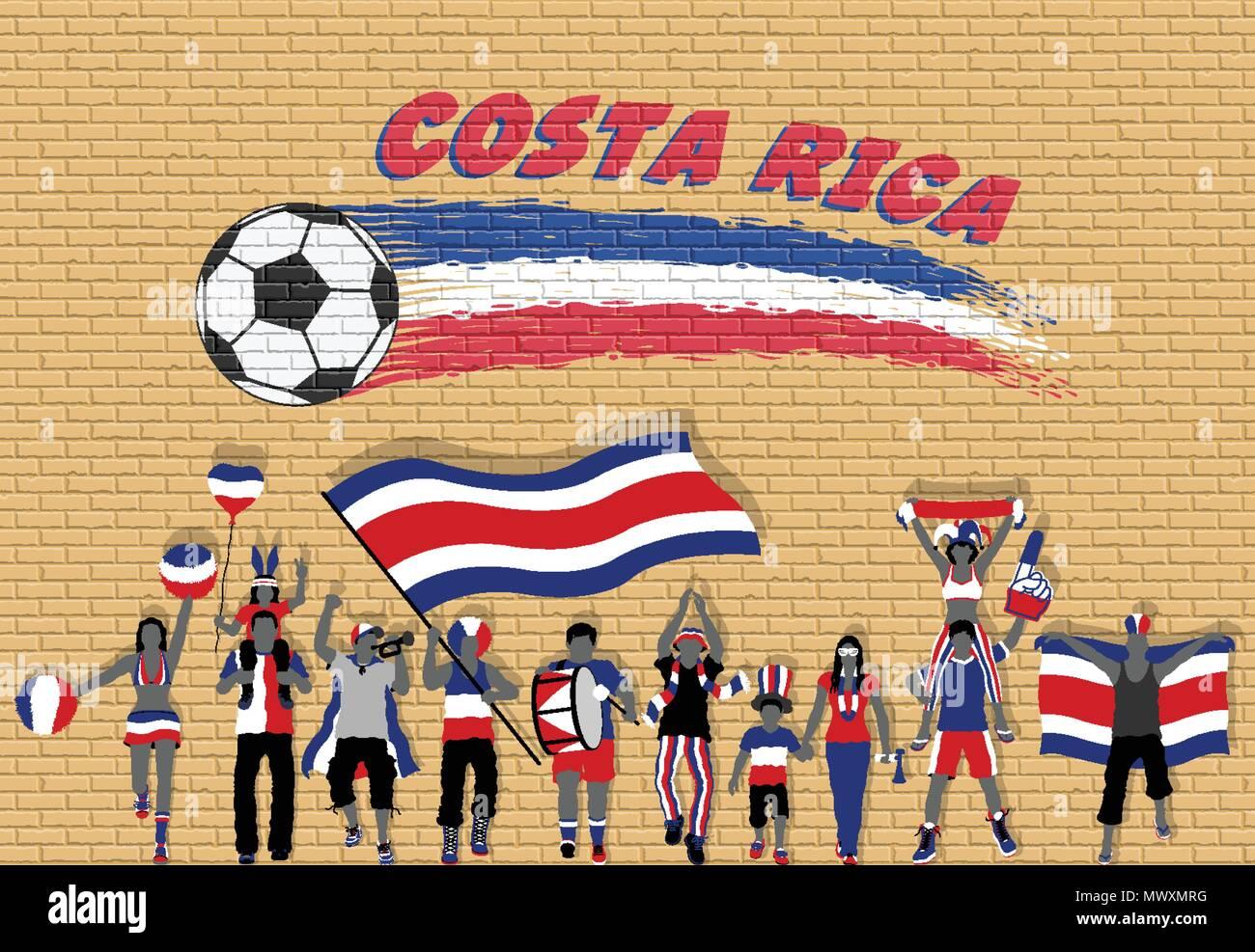 Los aficionados al fútbol de Costa Rica Costa Rica vítores con los colores  de la bandera 03deb2a64faa0