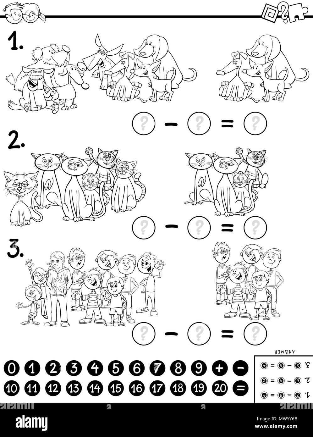 Ilustracion Caricatura En Blanco Y Negro De Matematica Educativa