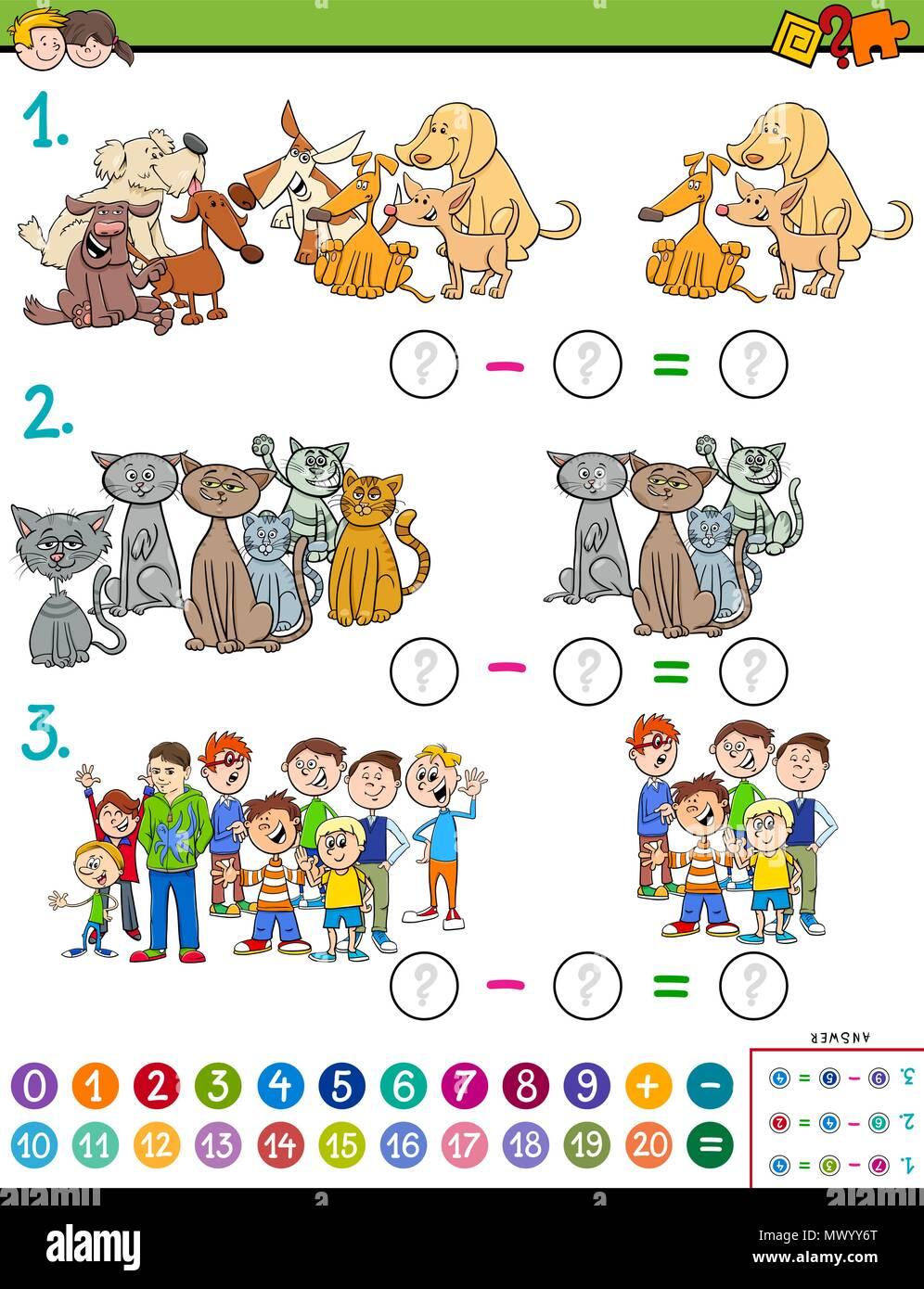 Ilustración De Dibujos Animados De Matemática Educativa Resta