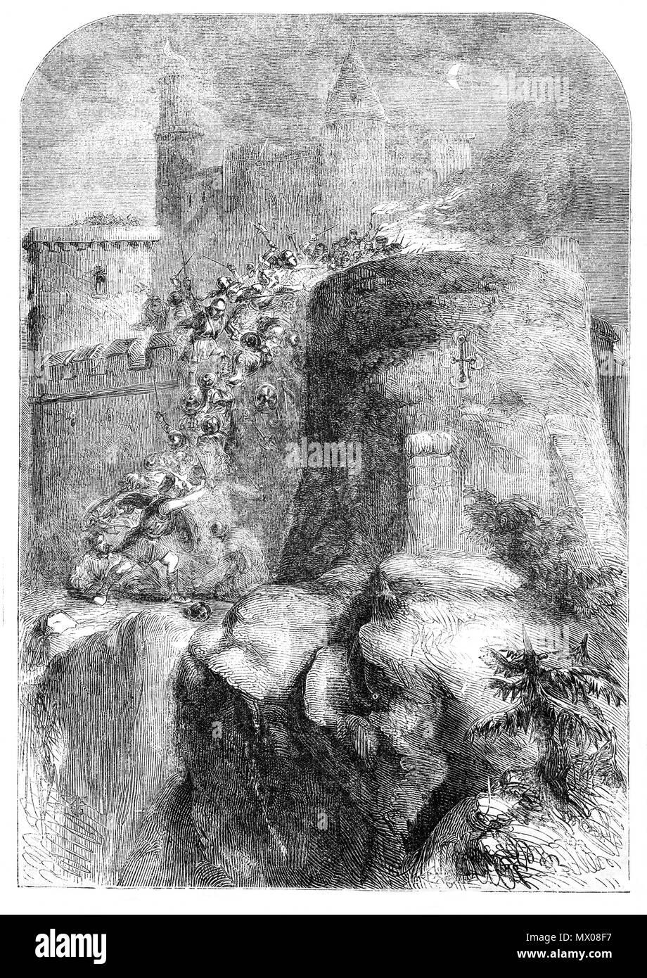Durante la Primera Guerra de Independencia Escocesa, el rey Eduardo I invadió Escocia en 1296 e hizo una abeja-línea para el Castillo de Edimburgo. Después de un corto período de tres días de asedio, el castillo fue capturado y una gran guarnición de 350 caballeros montados para protegerlo. Los maestros artesanos que fueron traídas de Gales con el fin de reforzar las defensas del castillo. Royal Regalia, registros de estado y otros tesoros pertenecientes al Castillo de Edimburgo fueron saqueados y enviado a Londres junto con la piedra del destino de Scone Abbey. Foto de stock
