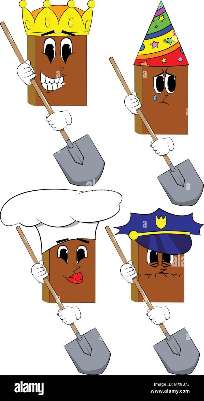 Libros sosteniendo una pala. Colección de libros de dibujos animados con  caras de disfraces. 45eadb354466