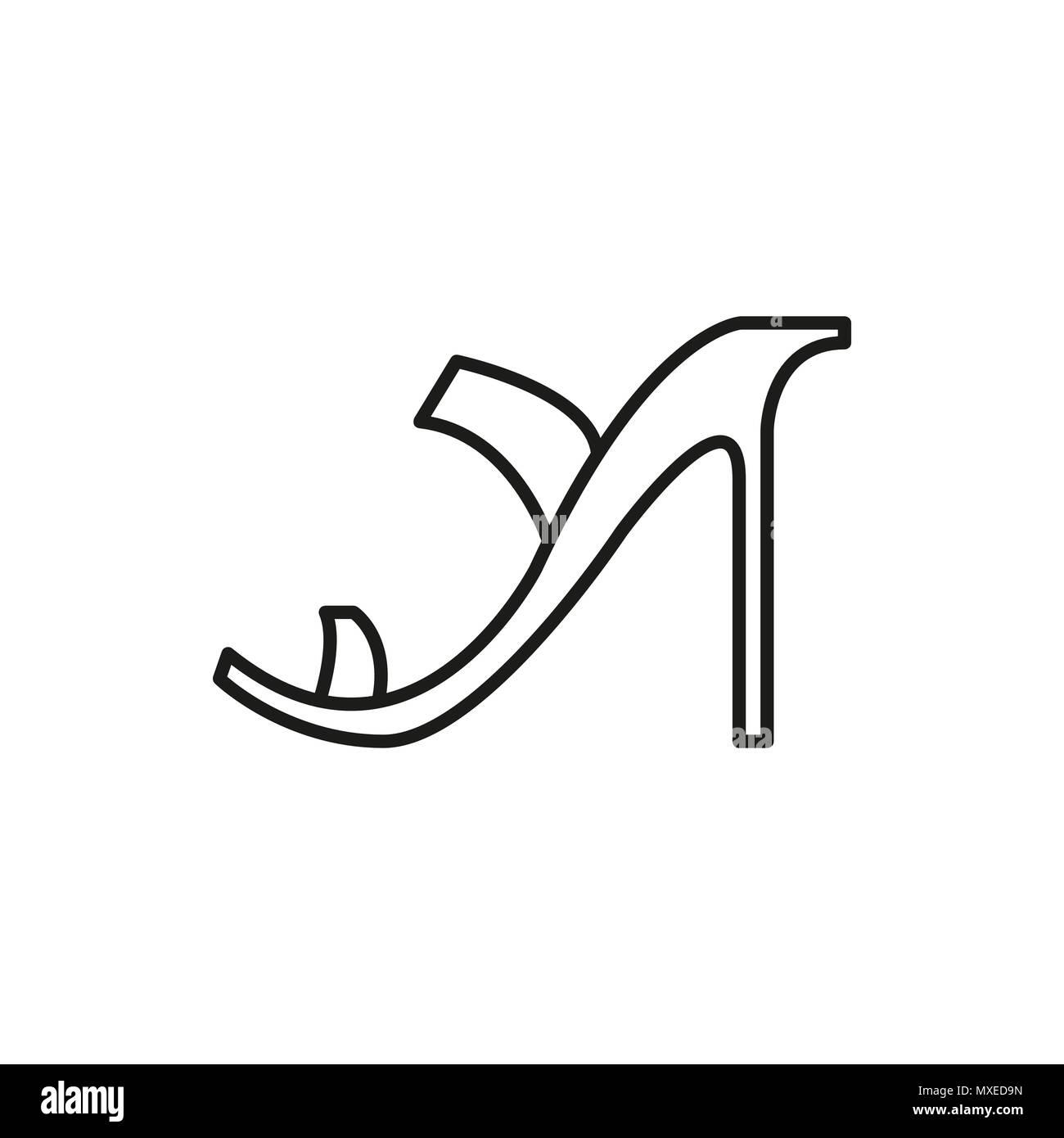 Tacones Mujer Delgada Vectorial Ilustración Icono Gráfico Altos Línea Zapato Diseño OSwExqOrR