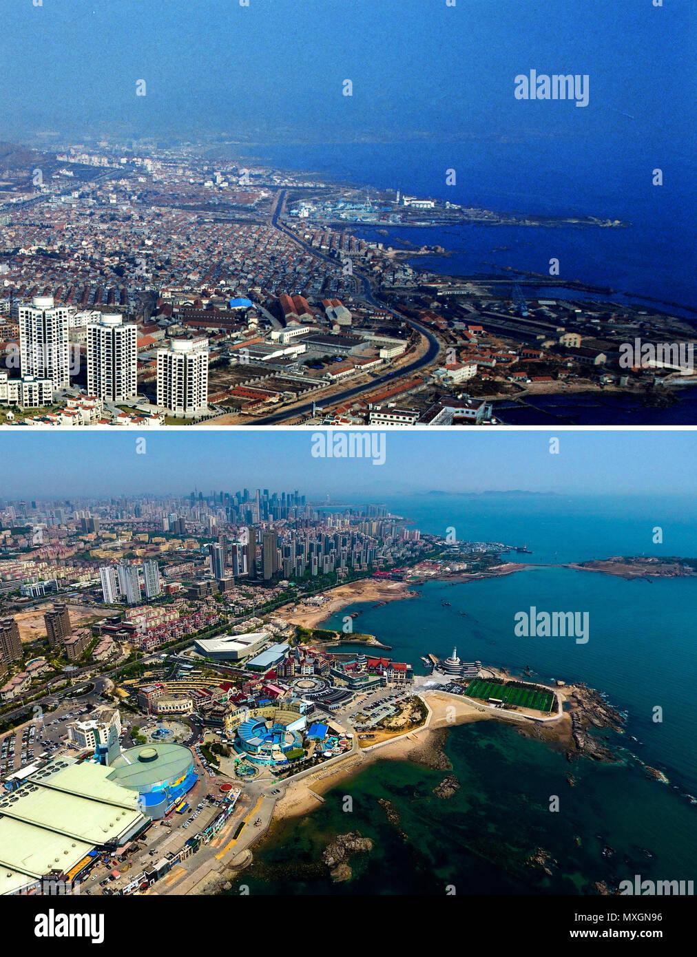 (180604) - Qingdao, 4 de junio de 2018 (Xinhua) -- combinada fotos muestran vistas aéreas de Maidao en Qingdao, Provincia de Shandong, China Oriental, adoptadas respectivamente en 1996 (superior) y el 4 de mayo de 2018. Desarrollo de la ciudad costera puede ser visto desde el archivo de fotos de Qingdao tomadas por el fotógrafo Zhang Yan en un helicóptero desde 1996 y las nuevas tomadas por aviones teledirigidos. Qingdao, como una de las primeras ciudades chinas a abrir, fue un puerto importante para la correa y la carretera, y que la gente pudo percibir la extensa, profunda de la cultura local y la vitalidad de la reforma y la apertura de China. (Xinhua/Zhang Yan, Li Foto de stock