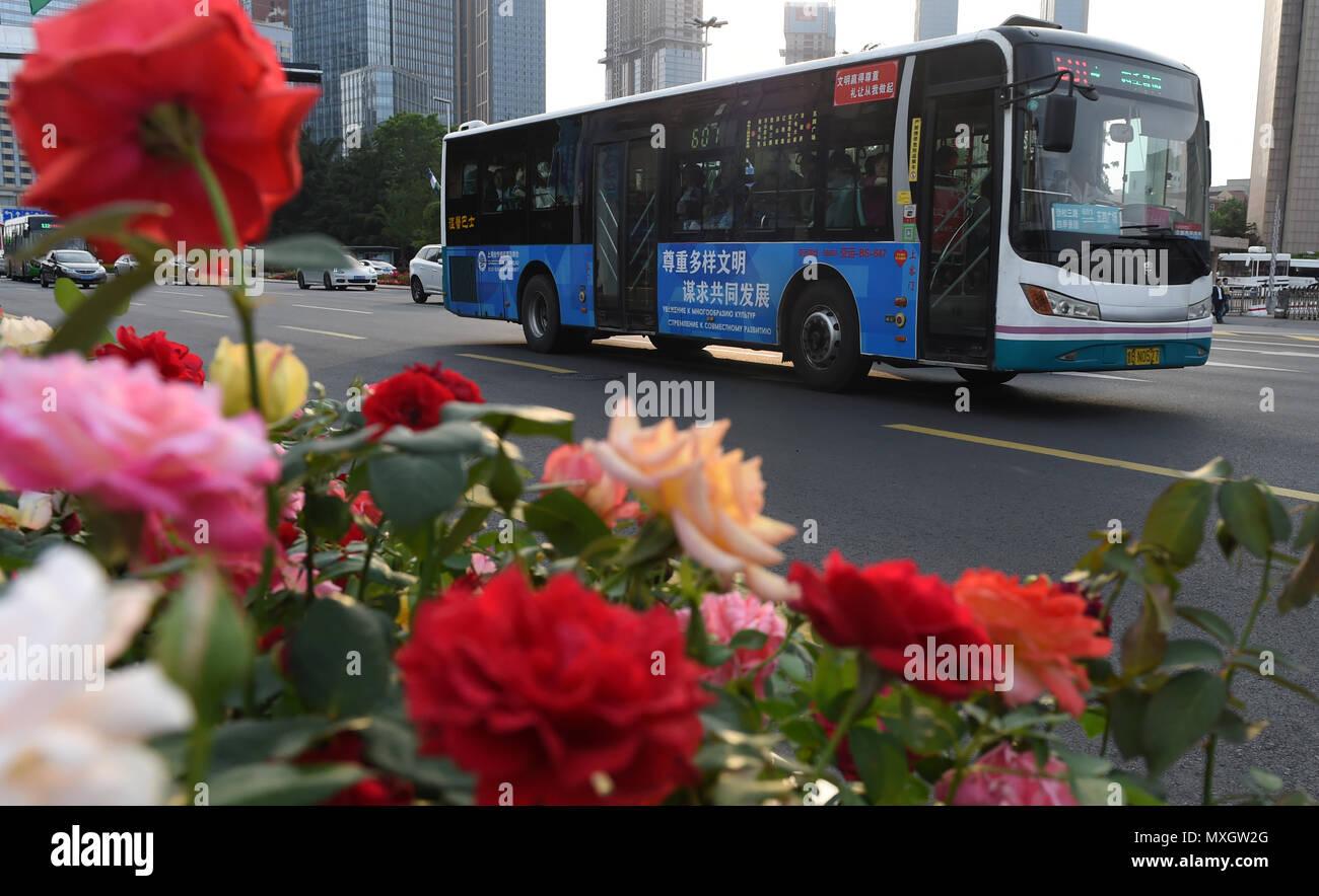 (180604) - Qingdao, 4 de junio de 2018 (Xinhua) -- un autobús en una calle en Qingdao, Provincia de Shandong, China oriental, 4 de junio de 2018. 18 de la Organización de Cooperación de Shangai (SCO) la Cumbre está programada para el 9 de junio al 10 en la Ciudad de Qingdao. (Xinhua/Ma Ning) (mcg) Foto de stock