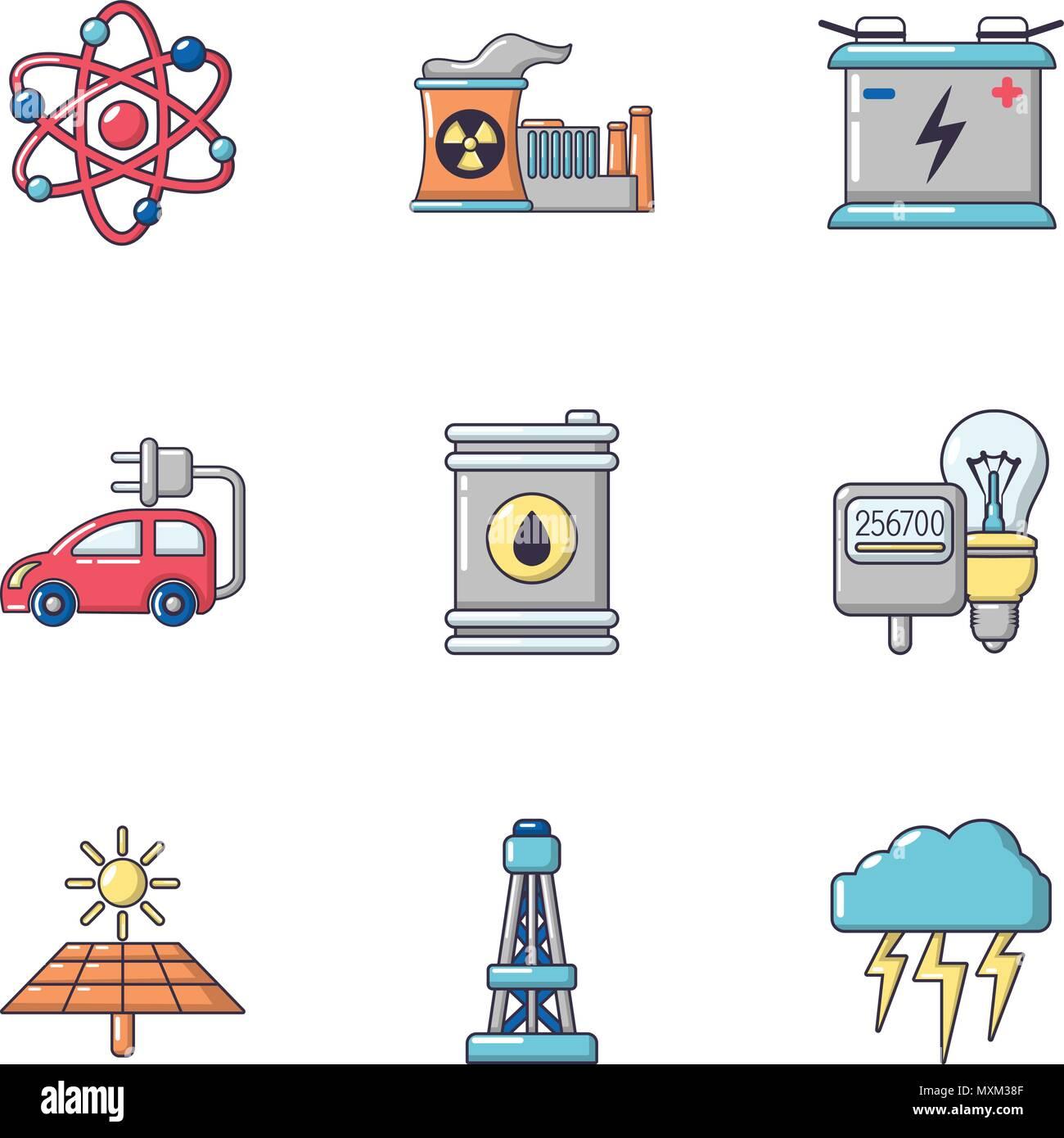 La Energía Nuclear Los Iconos De Estilo De Dibujos Animados
