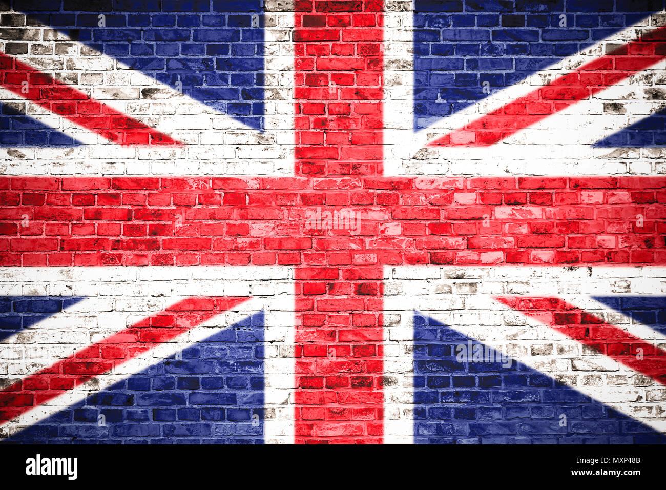 Reino Unido Uk Bandera Pintada Sobre Una Pared De Ladrillo