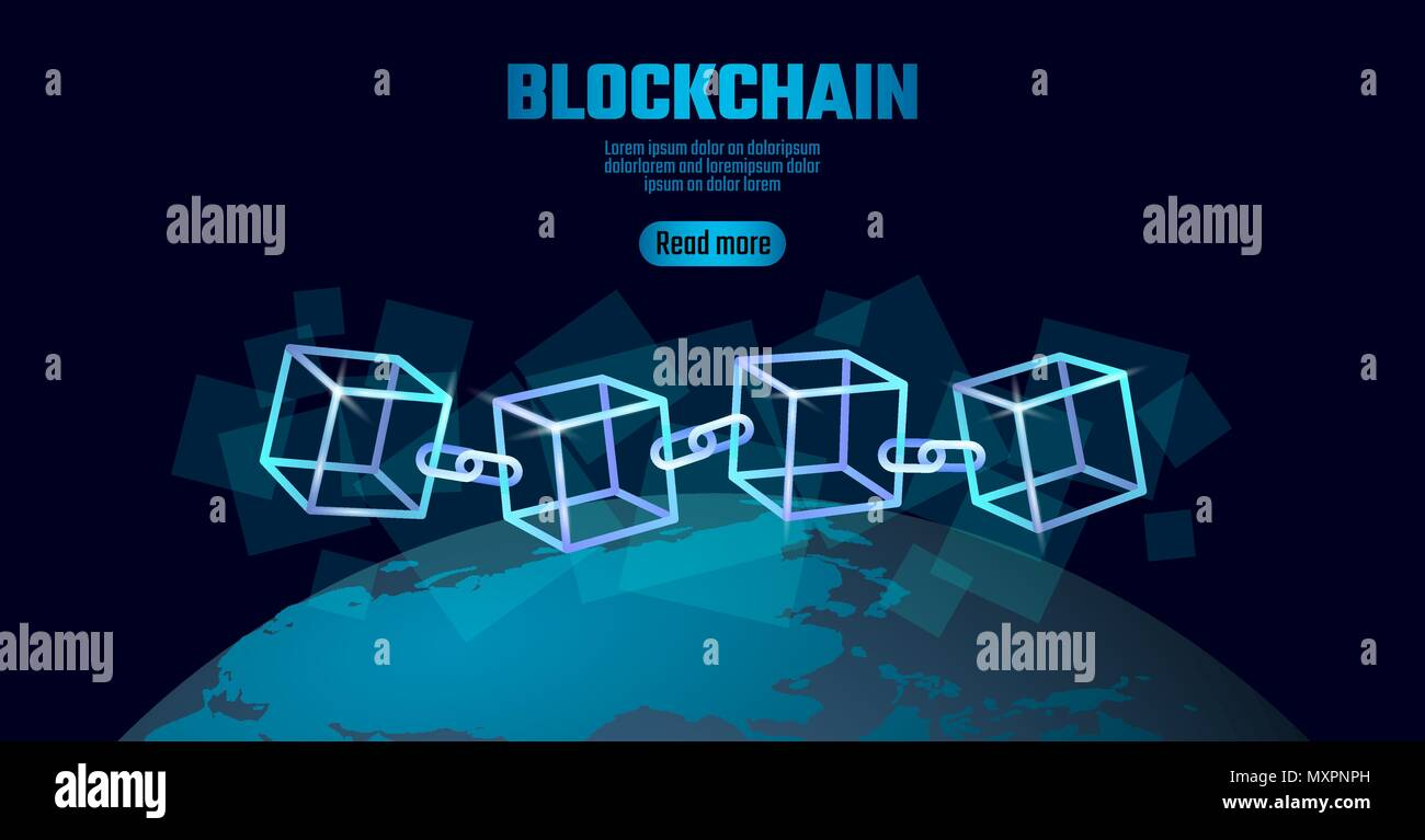 Símbolo de la cadena de cubos Blockchain código cuadrado grande ...