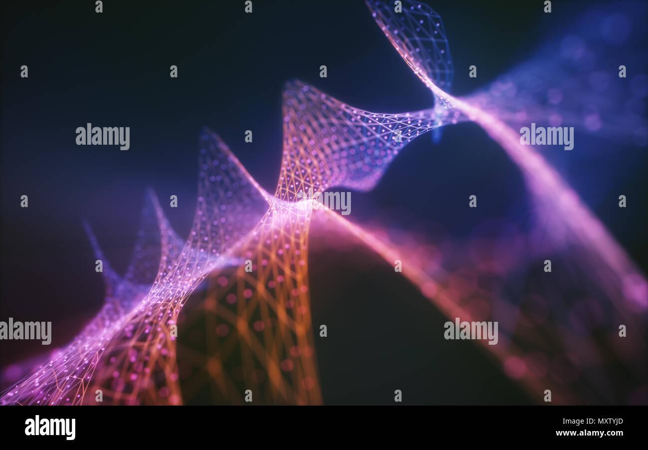 Ilustración 3D. Imagen abstracta de malla, líneas y puntos en el colorido líquido. Diseño de fondo de color. Imagen De Stock