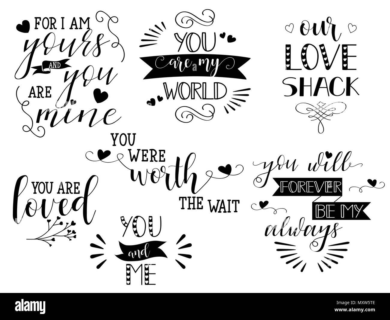 Conjunto De Letras Escritas A Mano Sobre El Amor Para