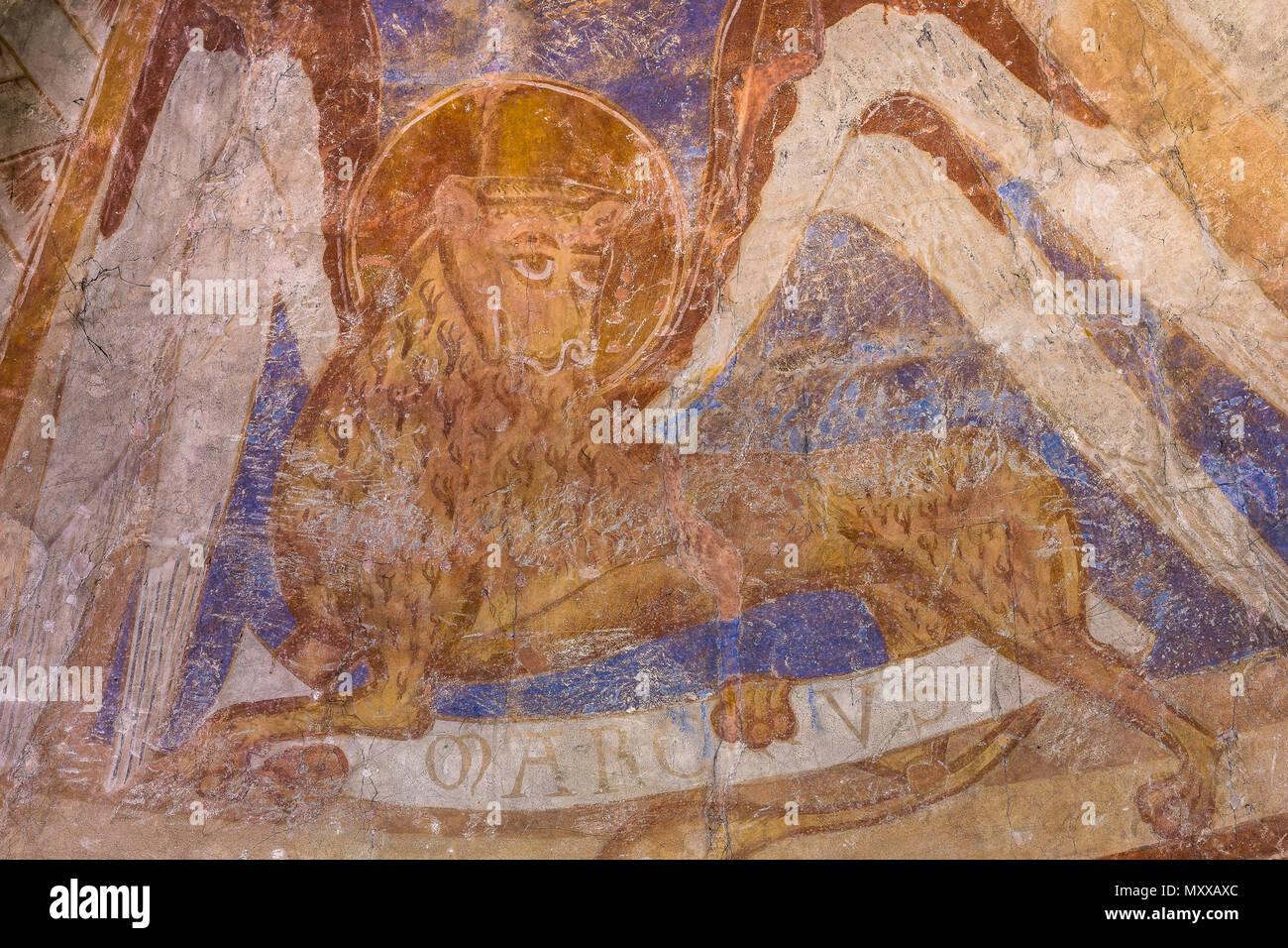 El león con un halo es un símbolo del evangelista san Marcos, una ...