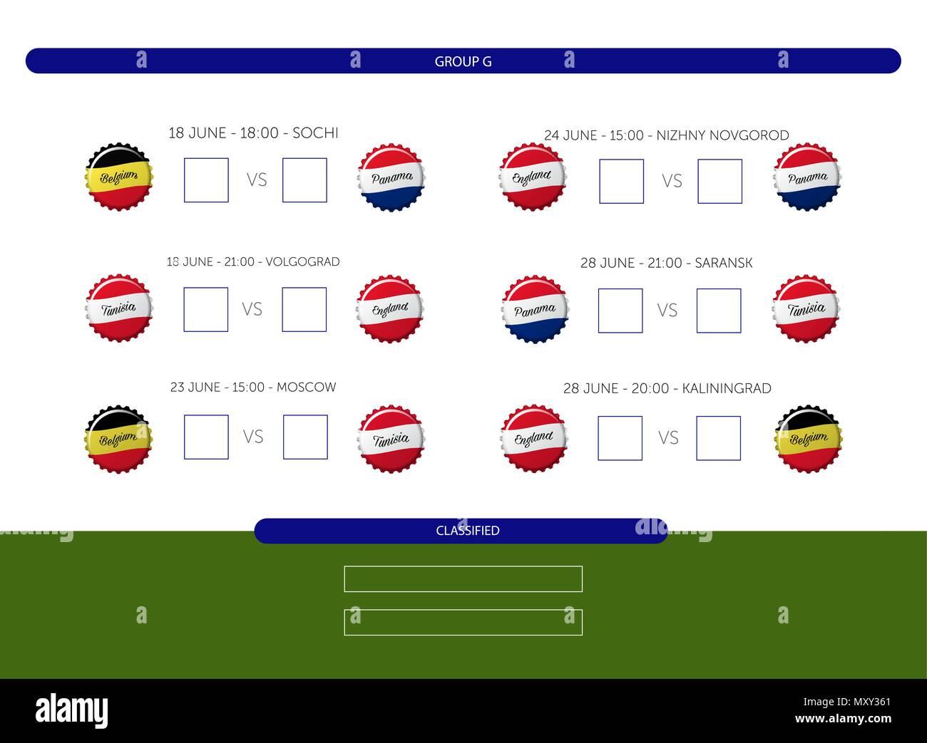 Futbol Calendario.Campeonato De Futbol 2018 Calendario Grupo G Info Vector Grafico
