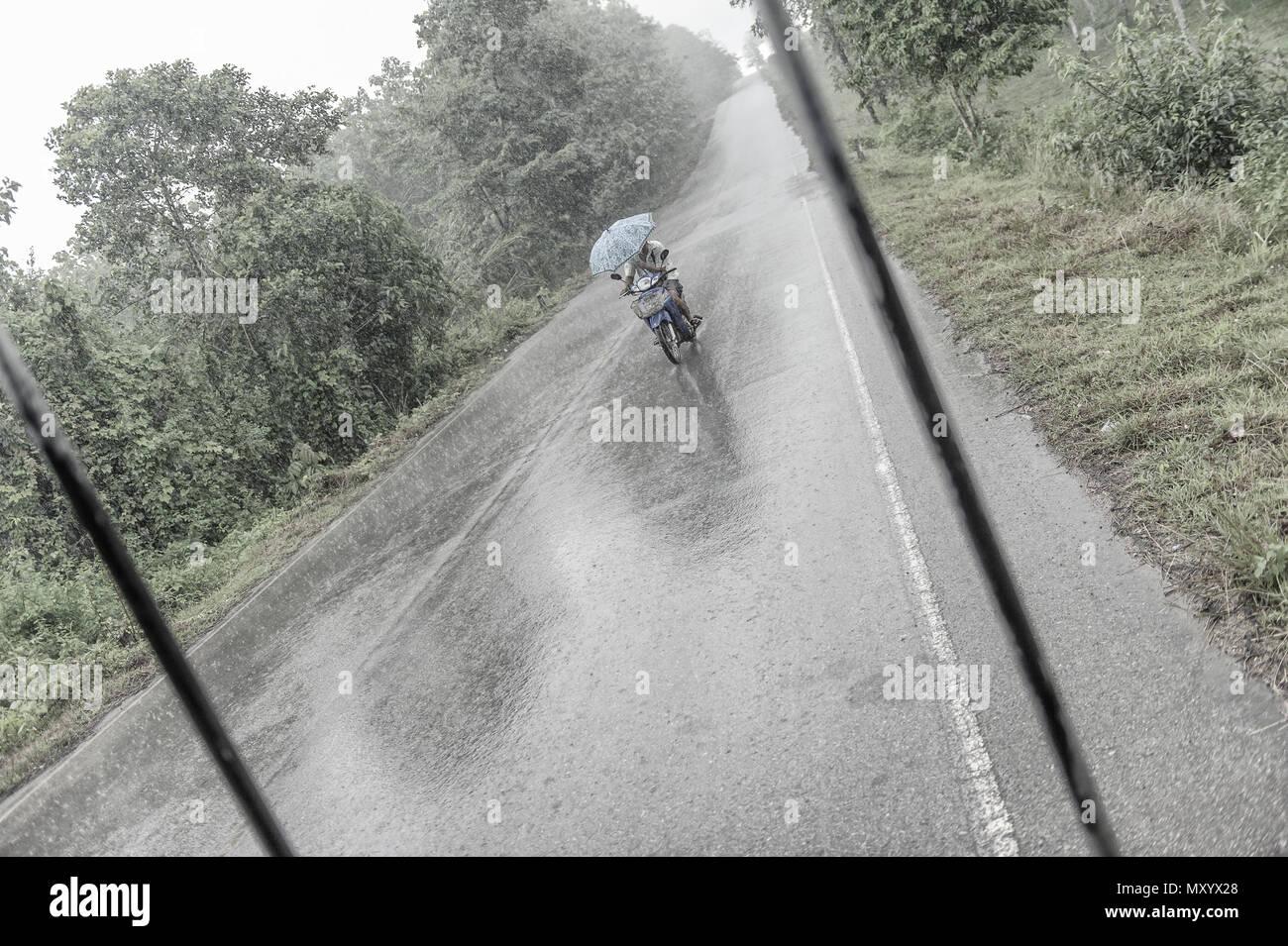 El motorista atrapado en una ducha de lluvia, Kanchanaburi, Tailandia Imagen De Stock