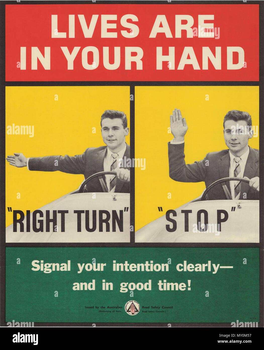 Vidas están en tu mano. Póster de seguridad vial circa 1939 - 1959 señales de conducción inútil cuanto antes el antiguo sistema de señalización de la mano por los controladores de motor se restaura la mejor será para la seguridad vial, escribe nuestro representante de Brisbane. Las nuevas señales han estado en funcionamiento durante aproximadamente un año o más, y han sido un fracaso desastroso. Accidentes ocurren en Brisbane cada día, cada hora, probablemente a causa de una mala señalización. Antes de que el nuevo sistema funciona, nadie se preocupaba por dar una señal para hacer un giro a la izquierda, a menos que pudiera ser un signo de parada. Al girar a la derecha era un brazo hel Foto de stock