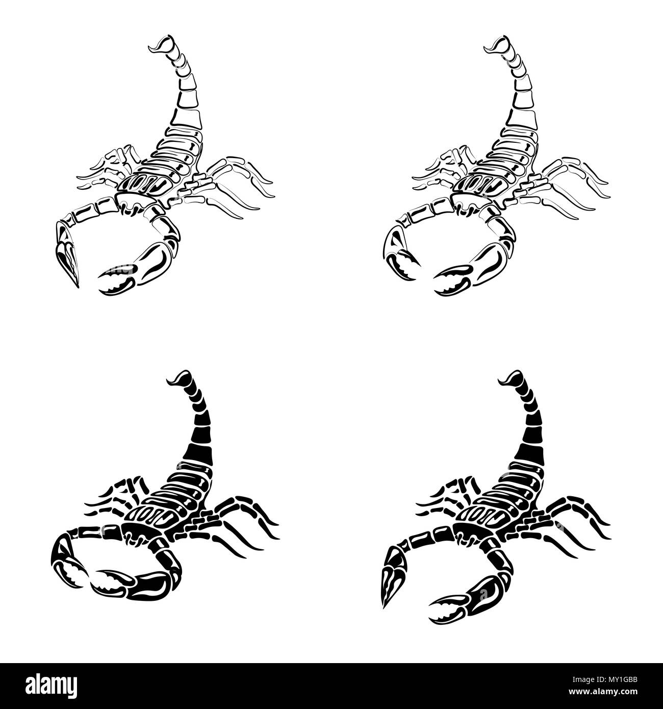 Conjunto De Escorpiones En Blanco Y Negro Para Tatuajes Signo Del