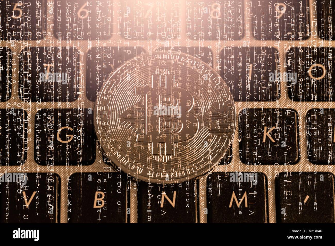 Una manera moderna de Exchange y es bitcoin pago conveniente en la economía de mercado mundial. Moneda digital Virtual de Comercio y de inversión financiera concepto. Cr Imagen De Stock