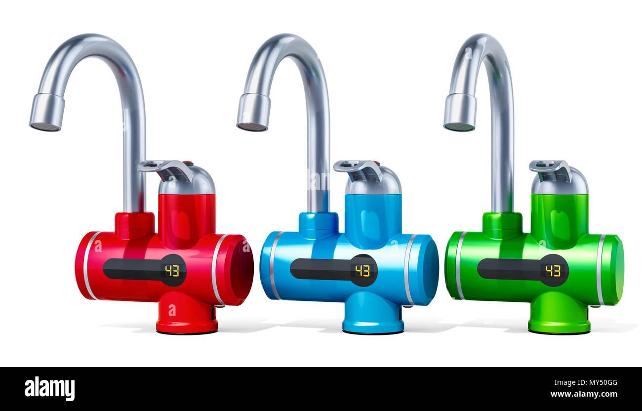 Conjunto de color calentadores de agua eléctricos instantáneos, 3D rendering aislado sobre fondo blanco. Imagen De Stock