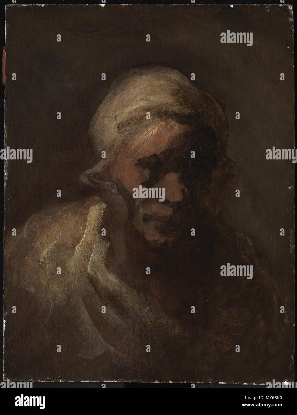 Inglés: Honoré Daumier, francés, de 1808 a 1879 Jefe de una vieja ...