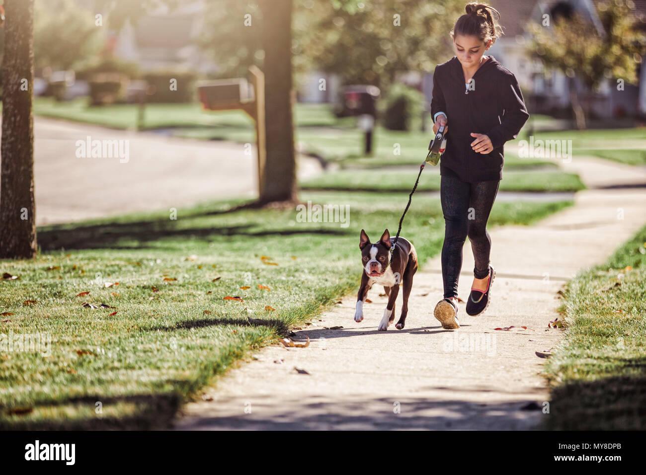 De joven, paseando a un perro a lo largo de vía Foto de stock
