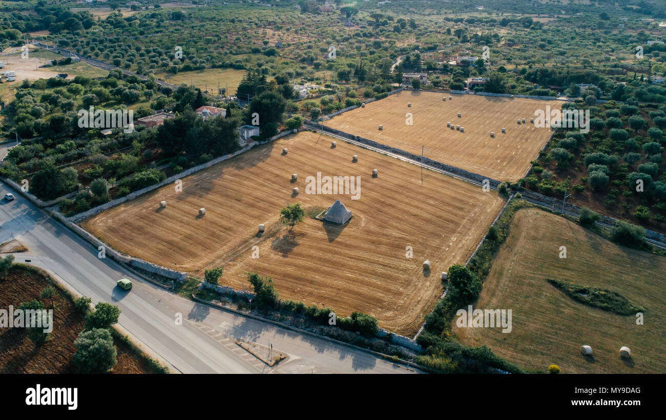 Trullo trulli whitr vieja casa en el campo en Italia Imagen De Stock