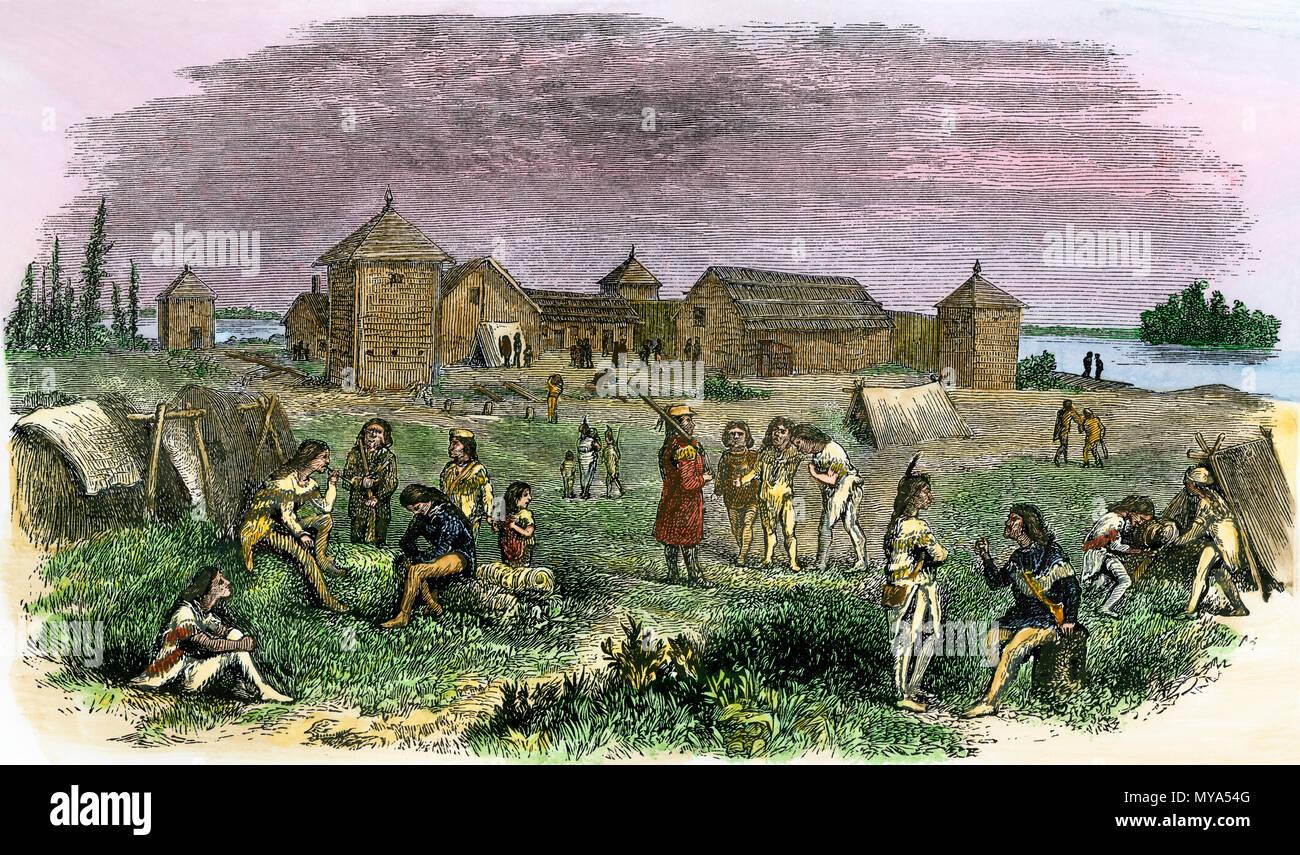 Fort Yukon, una compañía de la Bahía de Hudson Trading Post en Alaska, 1800. Xilografía coloreada a mano Imagen De Stock