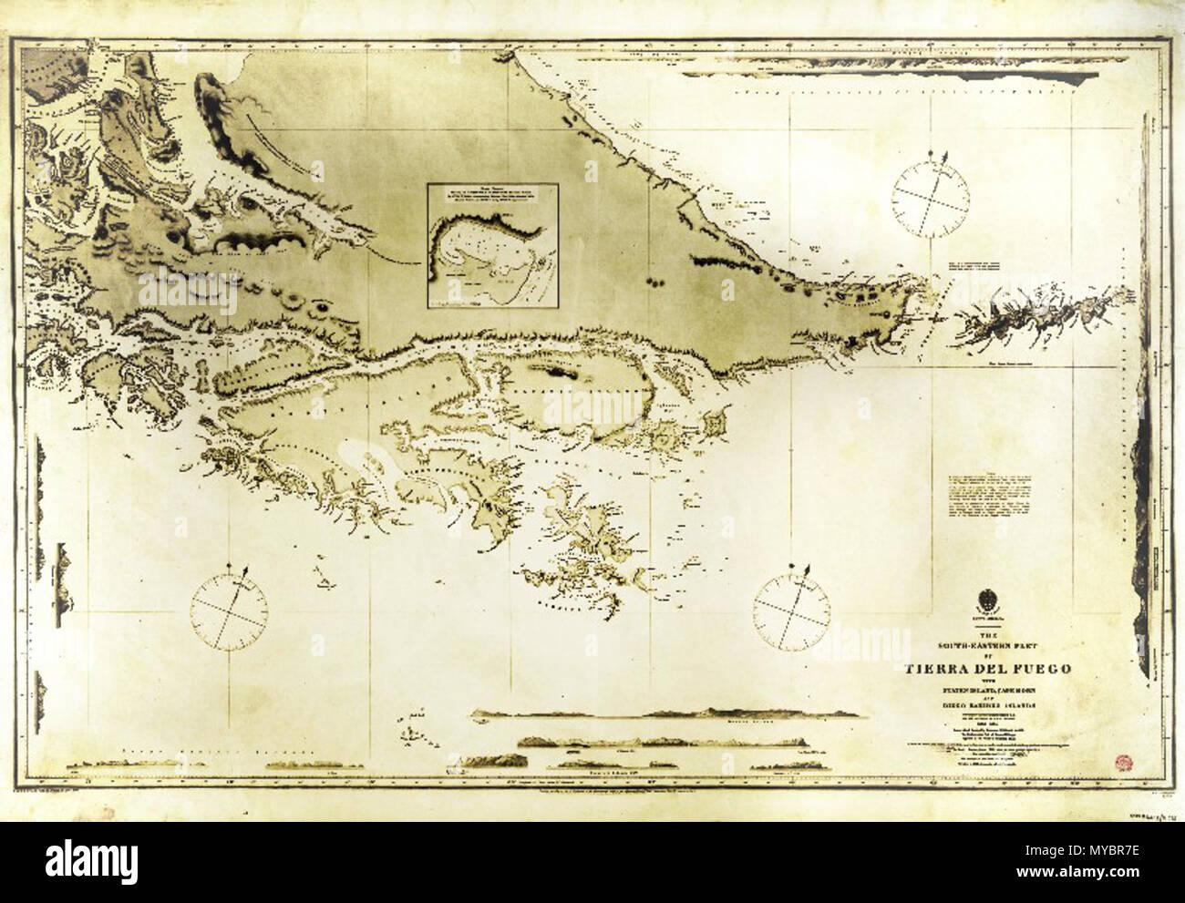 """. La parte sur de Tierra del Fuego, con el Cabo de Hornos, encuestados por el H.M.S. Beagle en 1830-34. El mapa original está en tonos de gris; los colores amarillento proceden de aumentar el contraste antes de cargar el mapa y se dejaron para mejor visibilidad mapa lee en la parte inferior derecha (entre otras): """"La parte sudoriental de la Isla Grande de Tierra del Fuego con la isla de Staten, Cabo de Hornos y las Islas Diego Ramírez. Encuestados por el capitán Robert Fitz Roy R.N. y los oficiales del H.M.S. Beagle. 1830-1834', según el uso previsto, este mapa en una mayor resolución puede obtenerse a partir de la fuente o la uplo Foto de stock"""