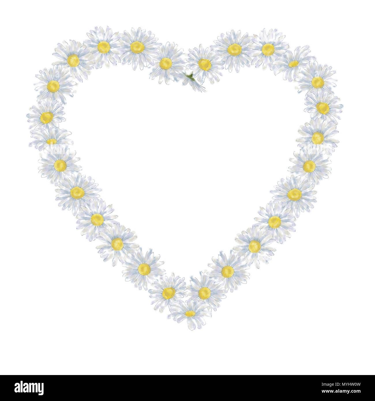 Margarita corona con forma de corazón aislado sobre fondo blanco ...
