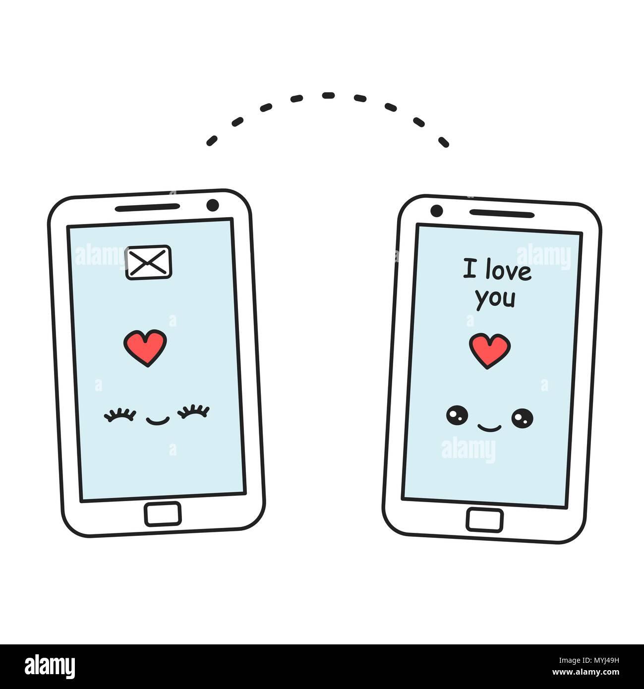Cute Dibujos Animados Smartphone Vector Enviar Mensaje De Amor