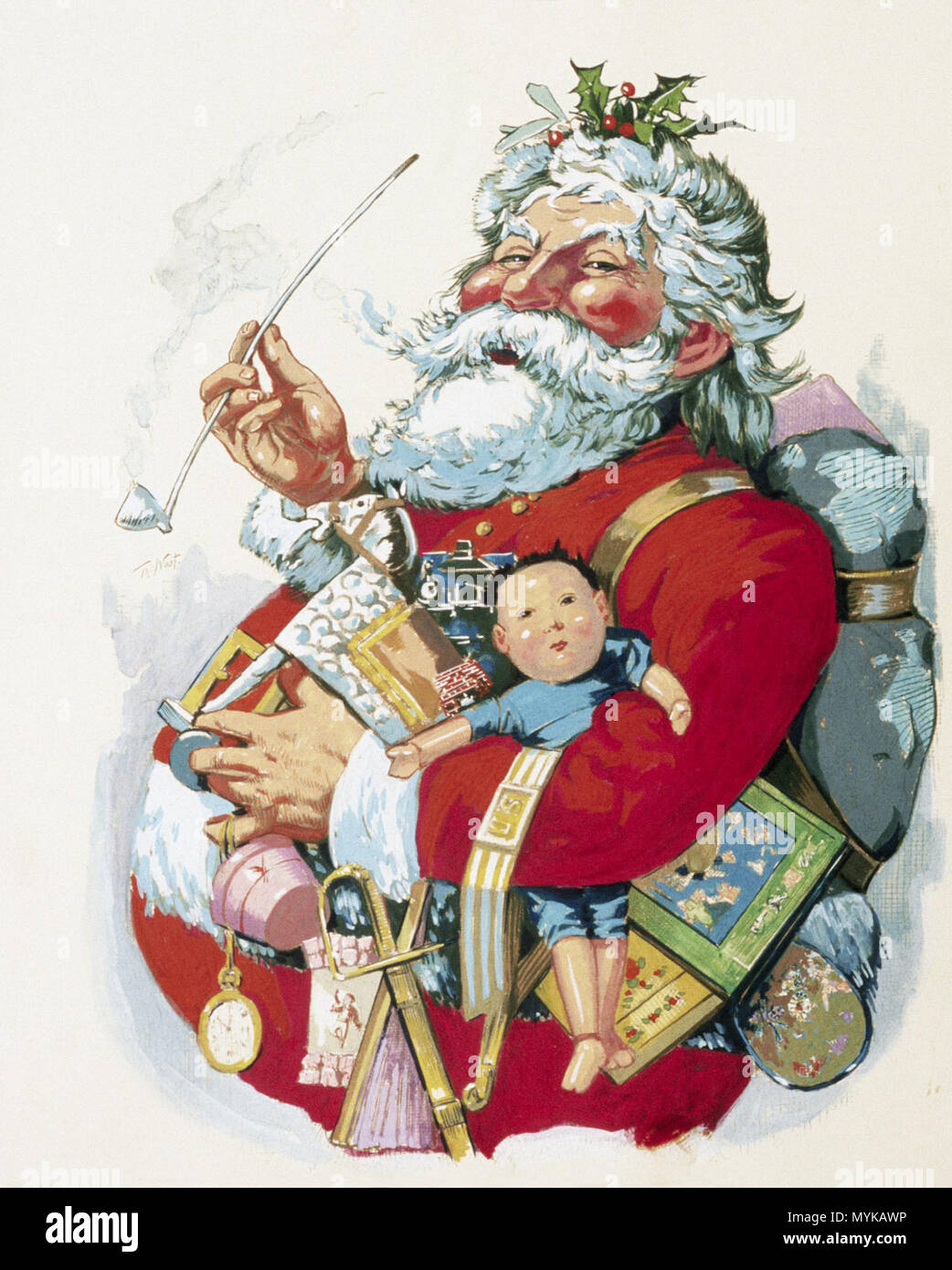 . Inglés: Merry Old Santa Claus de Thomas Nast . 1863. Thomas Nast 360 Merry Old Santa Claus de Thomas Nast Foto de stock