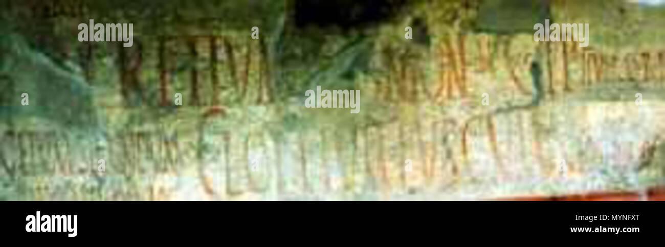 . Français : Graffitis de Pompéi situés sur la fachada du Thermopolium d'Asellina (Regio IX. Insula 11. Mur Est de l'entrée 3 - entre l'entrée 3 et 4). Très éffacé CIL IV, 07871 = M(arcum) Lucretium Frontonem CIL IV, 07872 = C(aium) I(ulium) P(olybium) IIvir(um) d(ignum) r(ei) p(ublicae) CIL IV, 07873 = Ceium Secundum / IIv(irum) i(ura) d(icundo) Asellina rog(a) CIL IV, 07874 = C(aium)(ilem Lollium Fuscum dea) d(ignum) r(ei) o(ro) v(os) f(aciatis) Cf. A. Varone et G. Stefani, Titulorum Pictorum Pompeianorum, Roma, L'erma di Bretschneider, 2009, pág. 427. Voir aussi avec Street View Català: Inscr. Foto de stock