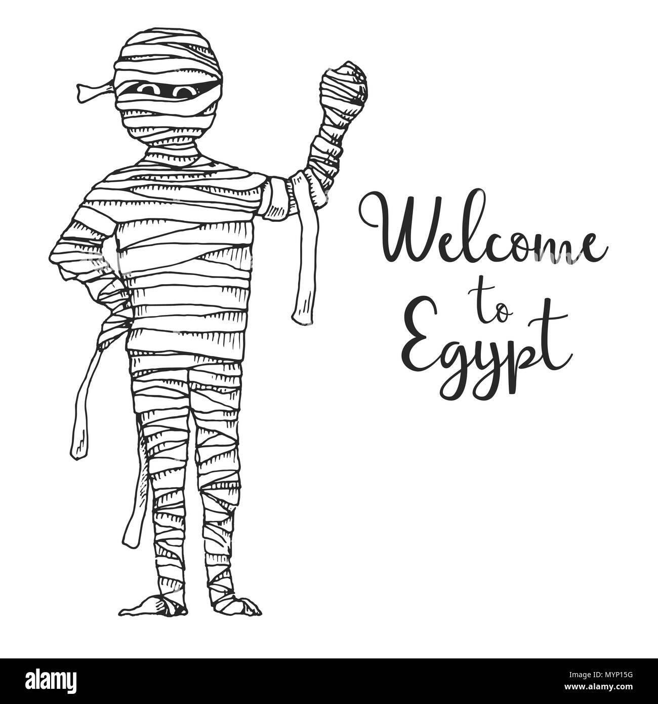 874c09d69 Boceto cartoon momia. Ilustración vectorial. Texto Bienvenido a Egipto.  Imagen De Stock