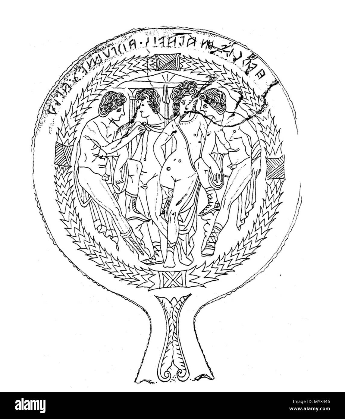 . Inglés: espejo de bronce etrusca de Tarquinia. Museo Nacional de Copenhague, Dinamarca. Tercer siglo AEC. 31 espejo de bronce etrusca de Tarquinia. Copenhague, Dinamarca Museo Nacional Foto de stock