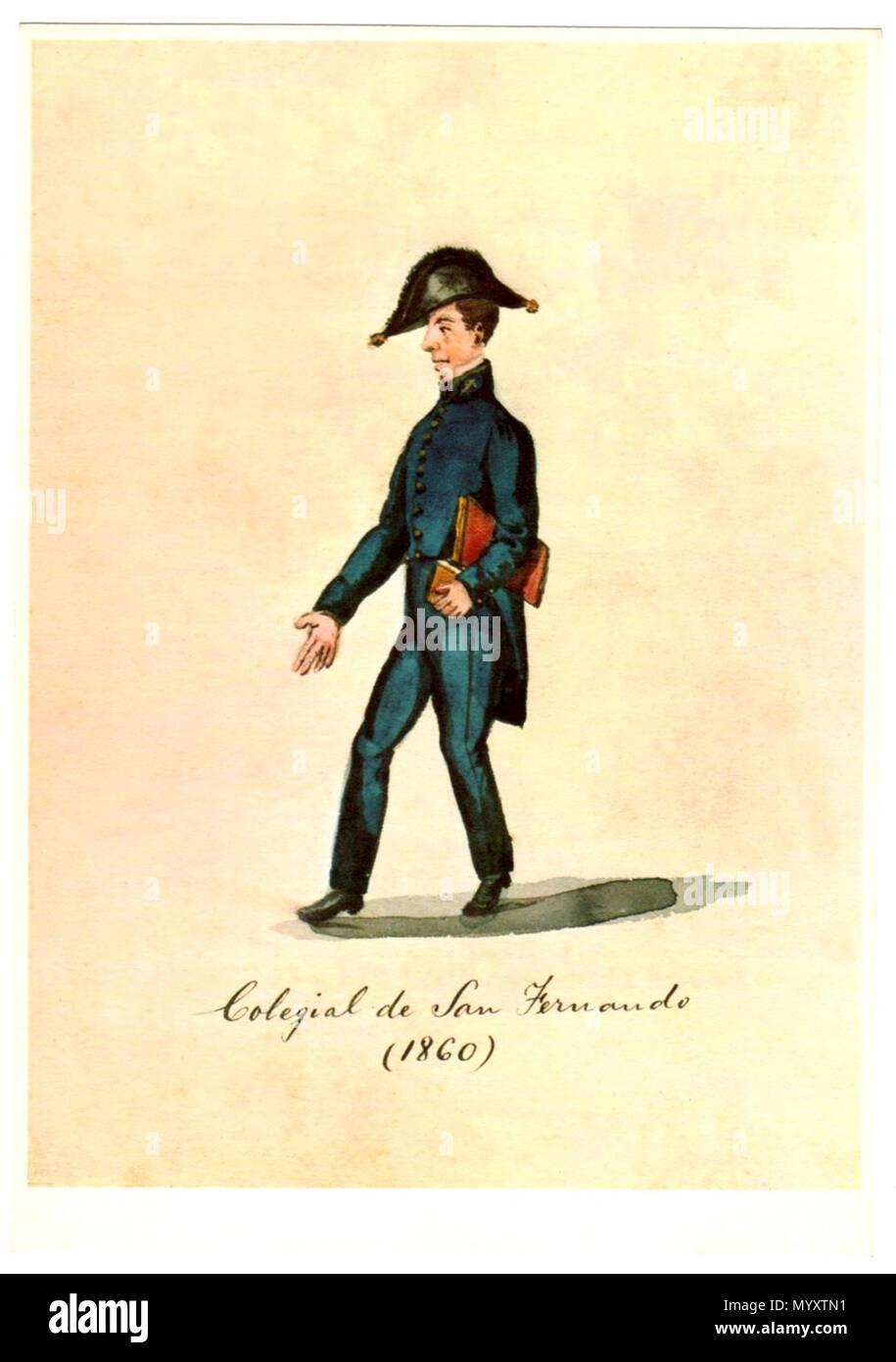 . Español: Acuarela de Pancho Fierro (Lima, 1807 - Lima, 1879) . 1860. Pancho Fierro 23 Colegial de San Fernando (1860) Imagen De Stock