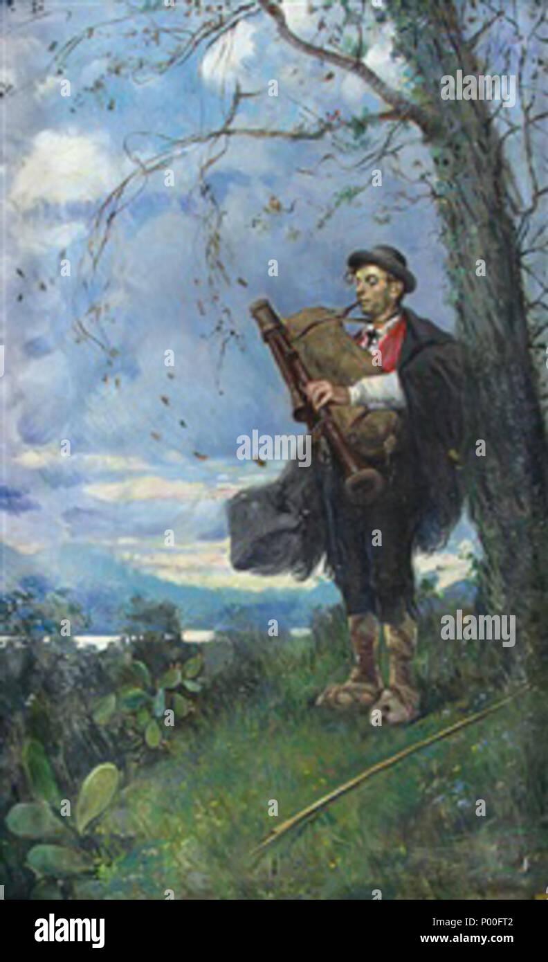 . Français : Luca Postiglione, Le Berger à la cornemuse, 103 x 63 cm, coll. part. . Antes de 1920. Luca Postiglione (1876-1936) 65 Luca Postiglione pastore con cornamusa Foto de stock